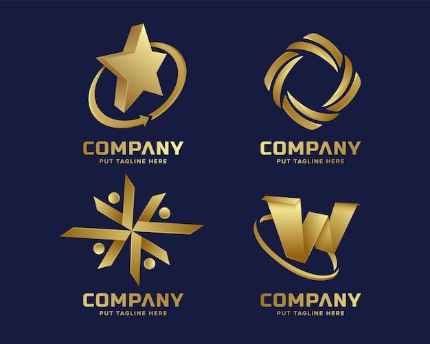 Goldgeschäftsluxus und elegante logoschablone mit abstrakter form Premium Vektoren