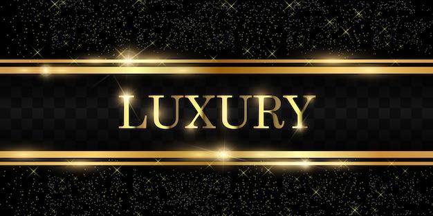 Goldglitter mit glänzendem goldrahmen auf einem transparenten schwarzen hintergrund. luxus goldenen hintergrund. Premium Vektoren