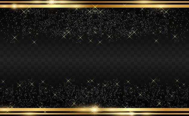 Goldglitter mit glänzendem goldrahmen auf einem transparenten schwarzen hintergrund. Premium Vektoren