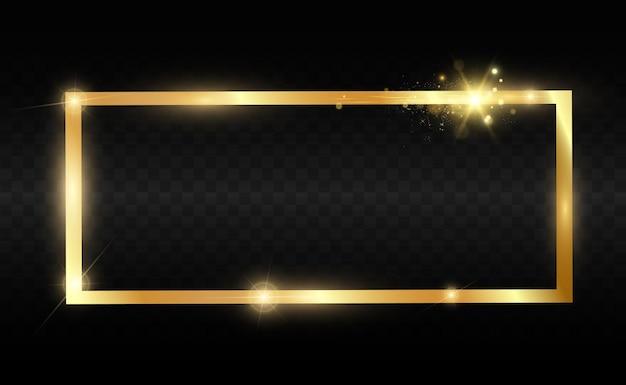 Goldglitter mit glänzendem goldrahmen Premium Vektoren
