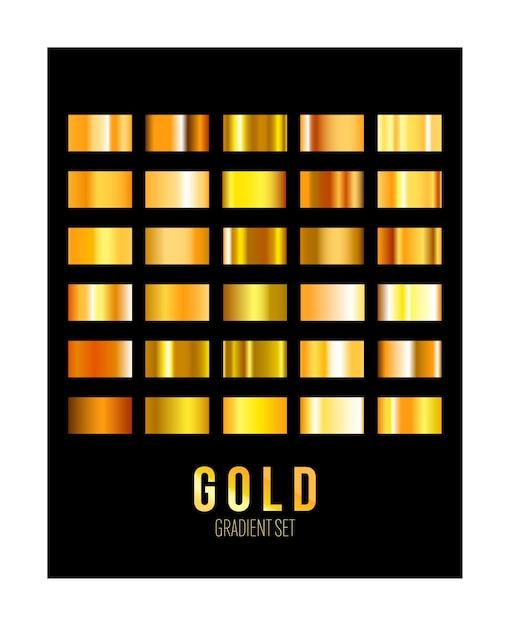 Goldgradientennetzmaterialsatz lokalisiert auf schwarzem hintergrund Premium Vektoren
