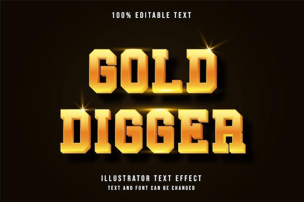 Goldgräber, bearbeitbarer gelber moderner schattenstil des 3d-texteffekts Premium Vektoren