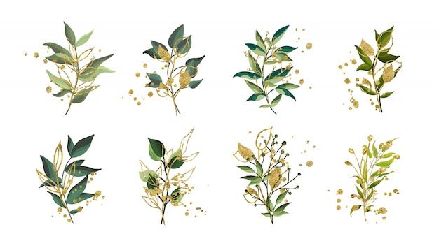 Goldgrüne tropische blätter, die blumenstrauß mit den goldenen splatters lokalisiert heiraten. blumenvektorillustrationsanordnung in der aquarellart. botanischer kunstentwurf Kostenlosen Vektoren
