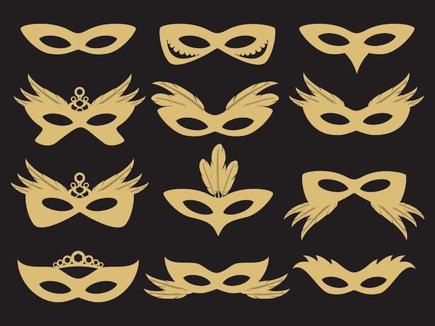 Goldkarnevalsparty-gesichtsmaske Premium Vektoren