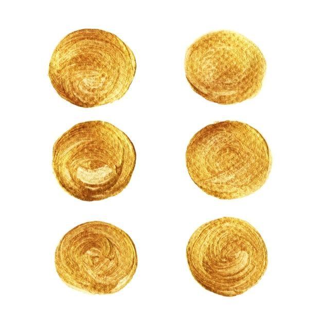 Goldkreis-farbensammlung lokalisiert auf weißem hintergrund Premium Vektoren