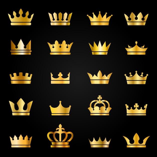 Goldkronensymbole. königin könig krönt luxus royal auf tafel, krönung tiara heraldischen gewinner award juwelenset Premium Vektoren
