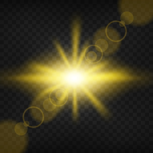 Goldlicht, das auf transparenten hintergrund scheint Premium Vektoren