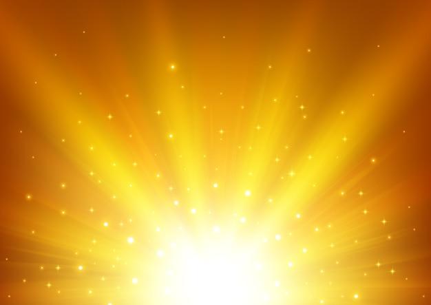 Goldlicht, das mit scheinen glänzt Premium Vektoren