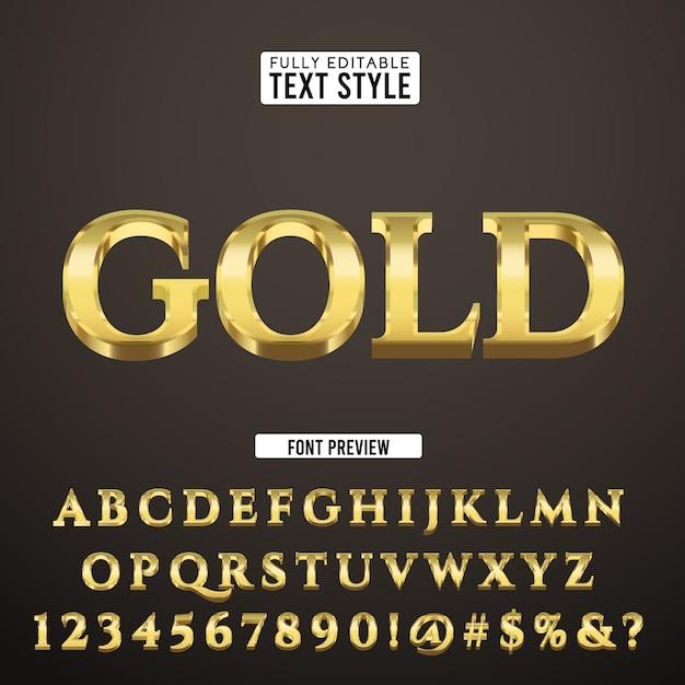 Goldluxusweinlese klassischer teurer gussalphabet-effekt-sammlungssatz des textes 3d Premium Vektoren