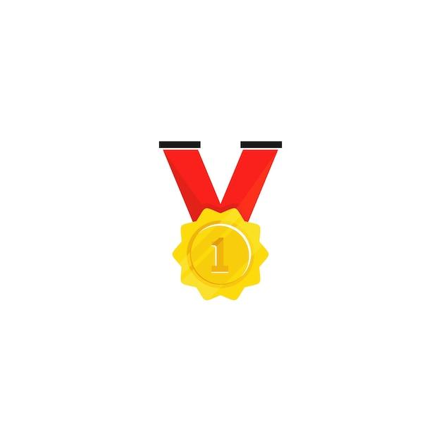 Goldmedaille getrennt im weißen hintergrund Premium Vektoren