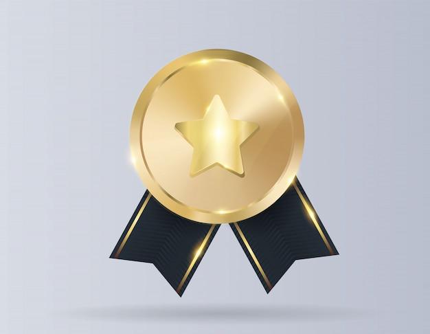 Goldmedaille mit roter schleife Premium Vektoren