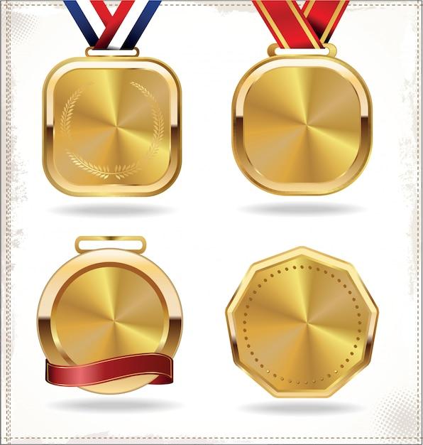 Goldmedaillen-set Premium Vektoren