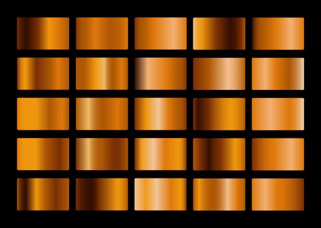 Goldmetall-farbverlaufssammlung Premium Vektoren