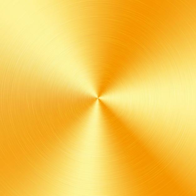 Goldmetallischer radialverlauf mit kratzern. oberflächeneffekt der goldfolienoberfläche. Premium Vektoren