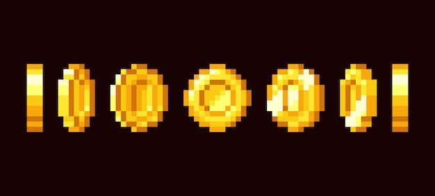 Goldmünze animationsrahmen für bit retro-videospiel. Premium Vektoren