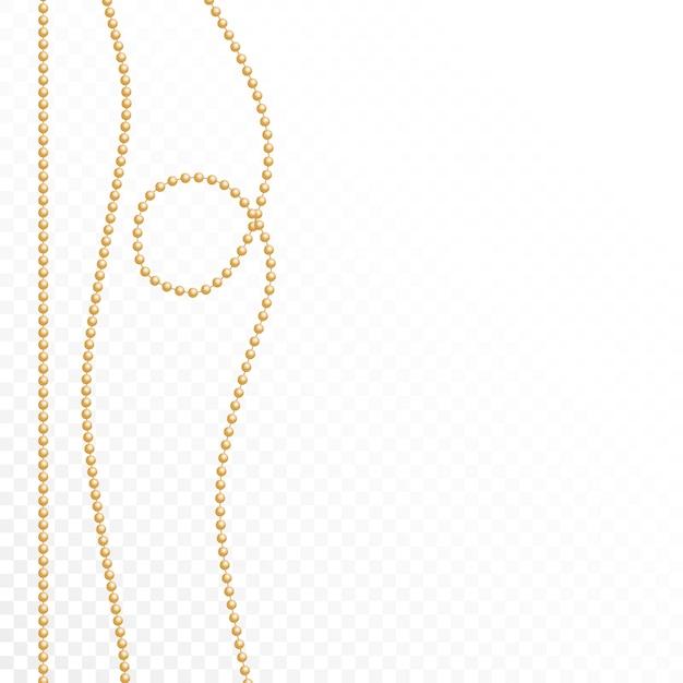 Goldperlen auf einem weißen hintergrund Premium Vektoren