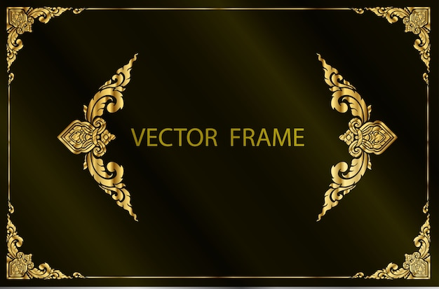 Goldrahmen floral grenze vorlage Premium Vektoren