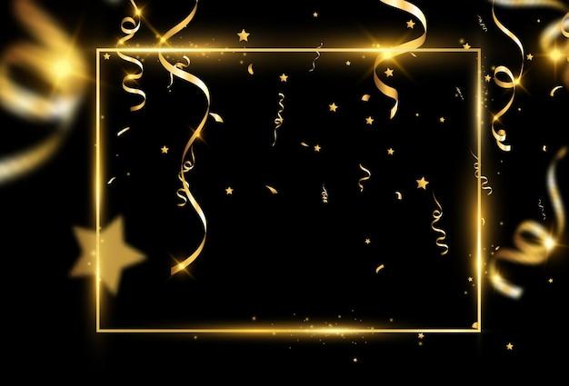 Goldrahmen mit konfetti. Premium Vektoren