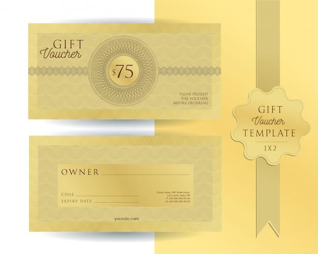 Goldschablonen-geschenkgutschein mit guillochewasserzeichen. doppelseitiger gutschein mit auszufüllenden feldern. Premium Vektoren