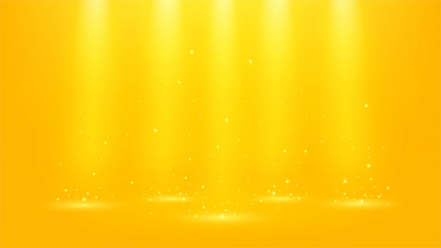 Goldscheinwerfer mit funkelnden 16: 9 seitenverhältnis Premium Vektoren
