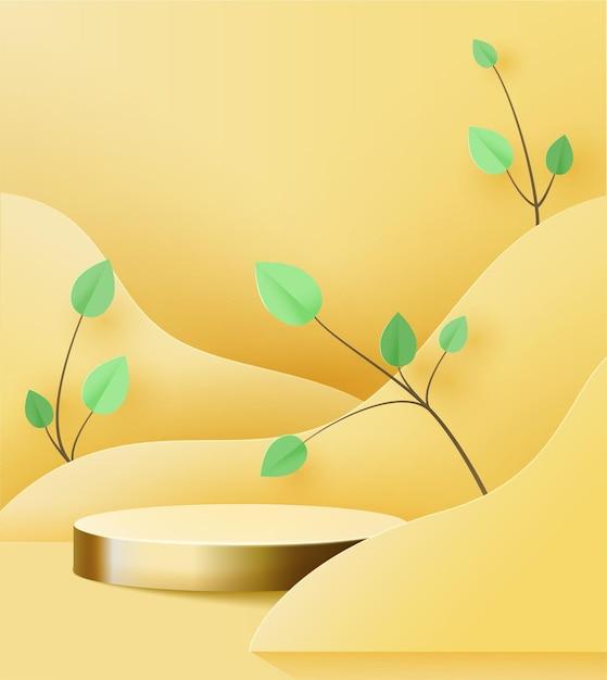 Goldsockel auf gelb. trend podium 3d auf wellen aus papier geschnitten, mit papierzweig mit blättern. Premium Vektoren