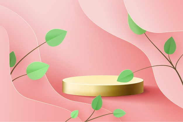 Goldsockel auf rosa. trend podium 3d auf wellen aus papier geschnitten, mit papierzweig mit blättern. Premium Vektoren
