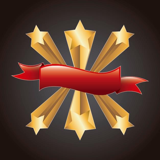 Goldsterne mit rotem farbband über schwarzem hintergrundvektor Premium Vektoren