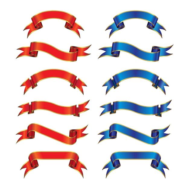 Goldstreifen-rote u. blaue sammlung Premium Vektoren