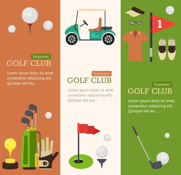 Golf club banner vertikales set Premium Vektoren