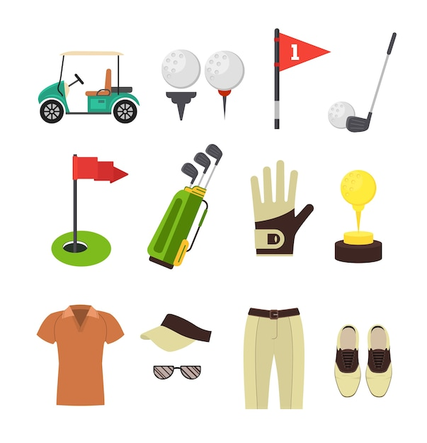Golf equipment style set für mobile und web app. Premium Vektoren