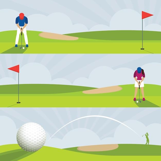 Golf, golfplatz banner, männer und frauen putt, swing Premium Vektoren