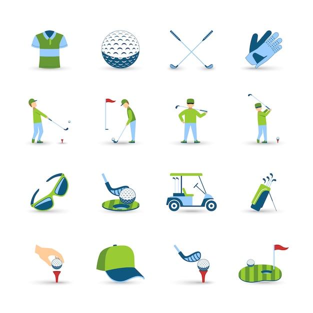 Golf icons set Kostenlosen Vektoren
