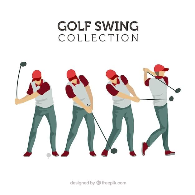 Golf schwingt sammlung mit mann in der flachen art Kostenlosen Vektoren