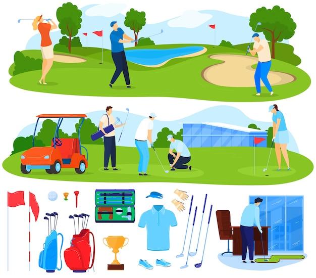 Golf-vektor-illustrationssatz spielen. karikatur flache aktive spieler leute spielen spiel auf gras, golfercharakter, der ball mit verein schlägt Premium Vektoren