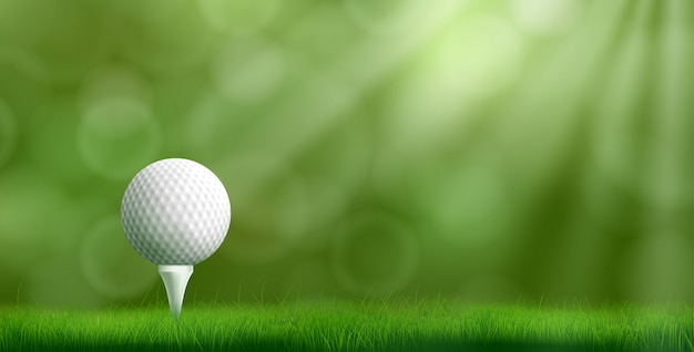 Golfball auf realistischer vektorillustration des t-stücks Kostenlosen Vektoren