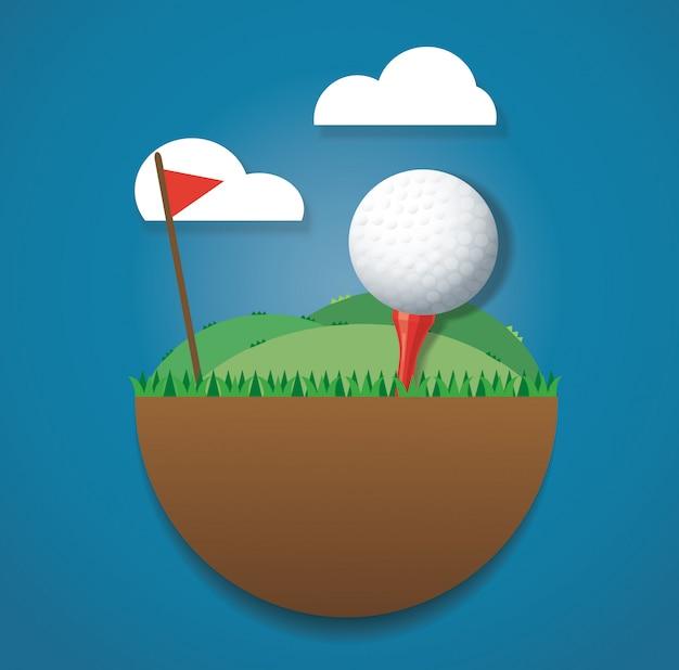 Golfball auf vektor des vektors des bodens und der roten fahne Premium Vektoren