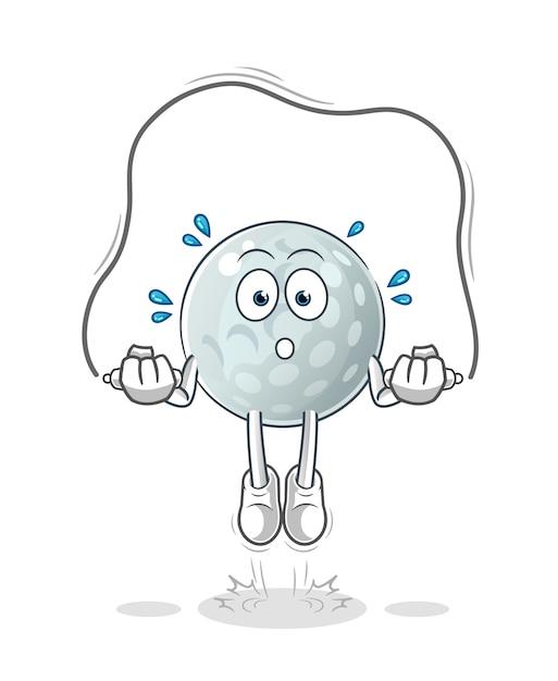 Golfball springseil übung illustration. charakter Premium Vektoren