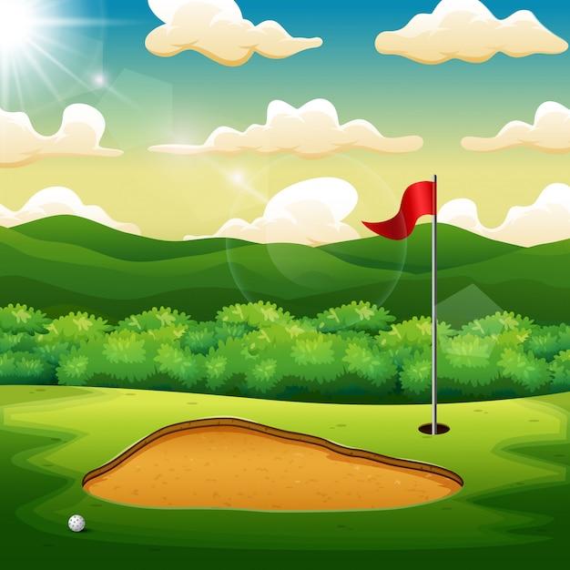 Golfball und eine flagge auf grünem hügel des golfplatzes Premium Vektoren