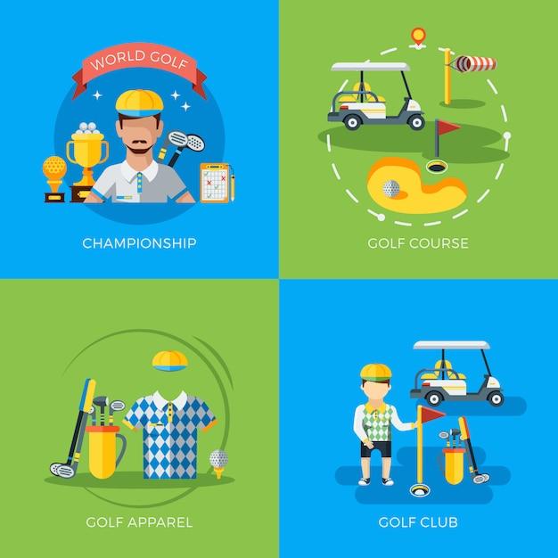 Golfelemente und charaktere Kostenlosen Vektoren