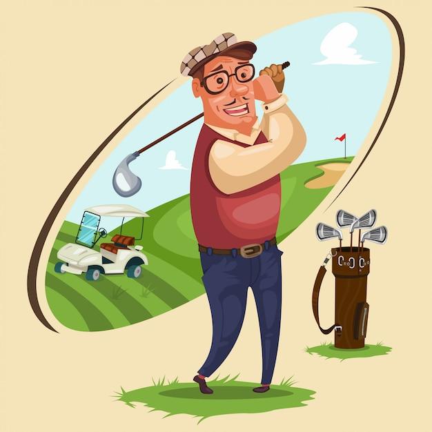 Golfer spielt golf, cartoon-illustration mit den attributen des spiels: tasche für vereine, elektroauto und landschaftsgebiet des sportplatzes. Premium Vektoren