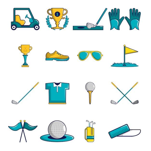 Golfikonen stellten symbole ein Premium Vektoren