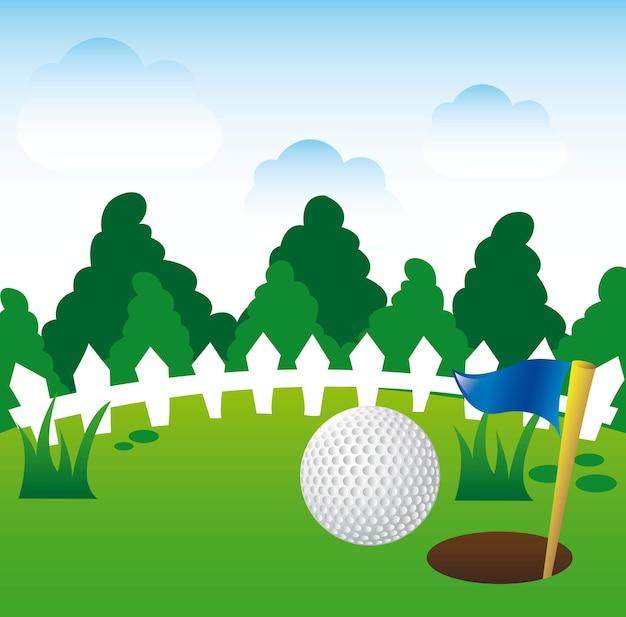 Golfillustration über landschaftshintergrundvektorillustration Premium Vektoren
