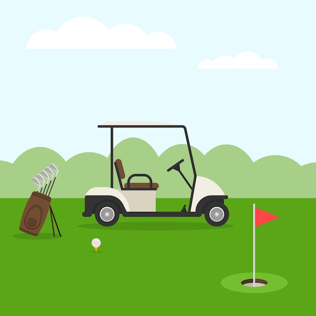 Golfplatz. golflandschaft Premium Vektoren