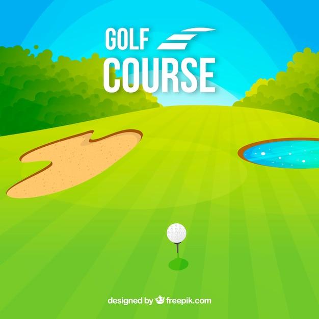 Golfplatzhintergrund in der flachen art Kostenlosen Vektoren