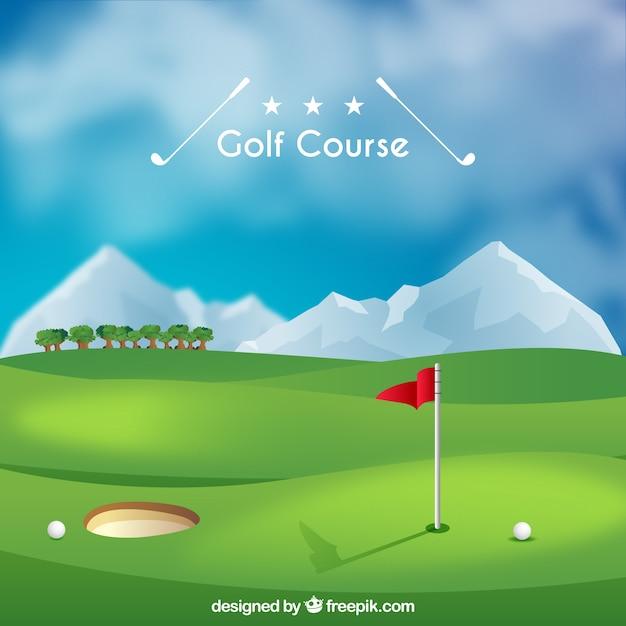 Golfplatzhintergrund in der realistischen art Kostenlosen Vektoren