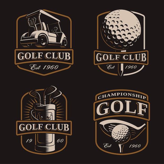 Golfset mit vintage-logos, bages, emblemen auf dunklem hintergrund. text befindet sich auf der separaten ebene. Premium Vektoren
