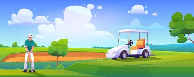 Golfspieler, der golf auf dem grünen feld spielt, das ball schlägt Kostenlosen Vektoren