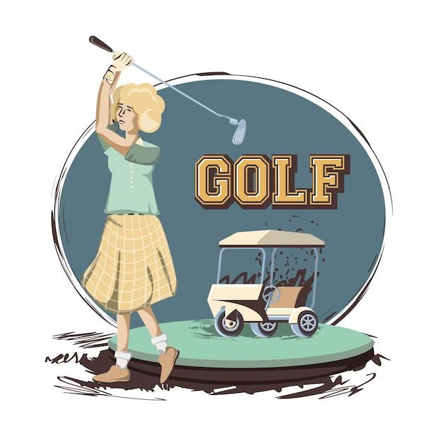Golfspielerfrau im kurs Premium Vektoren