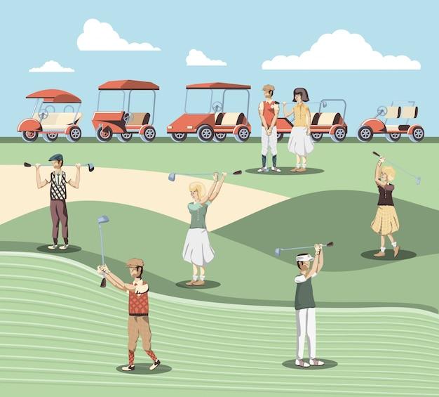 Golfspielerleute im kurs Premium Vektoren
