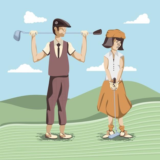 Golfspielerpaar im kurs Premium Vektoren